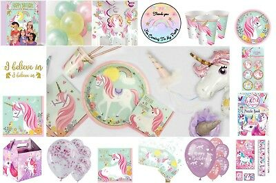 Girls Magical Unicorn Birthday Party Tableware Plates Cups Napkins Tablecloth
