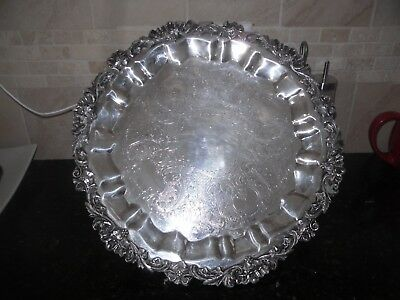"""15 """"Round Champagne Tray  Old English  Silver plate Vintage grapes"""