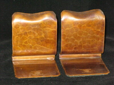 Avon Copper Smiths Hammered Copper Arts and Crafts Pair of Bookends About 1930