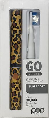 Pop Dental Go Sonic Portable Electric Toothbrush Cheetah Brown Batteries Includ.