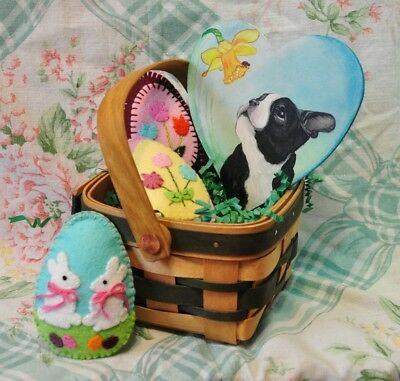 Boston Terrier Dog Spring Basket Hand Made Felt Eggs Handpainted Wooden Heart