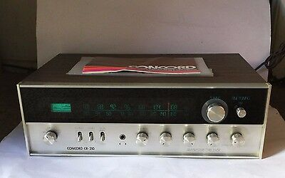 Vintage Concord CR-210 AM / FM Solid State Stereo Receiver W/Orig Owner Manual
