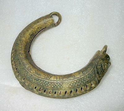 Antique Old Collectible Rare Hand Carved Brass Jali Cut Camel Leg Bell Bracelet