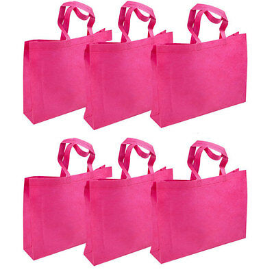 6pc LARGE BLACK PINK SHOPPING BAGS ECO FRIENDLY REUSABLE RECYCLABLE GIFT BAG Lot
