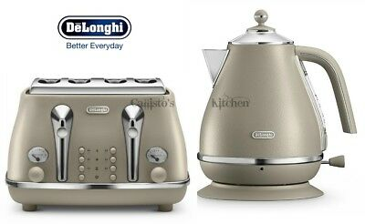 Kettle and Toaster Set Delonghi Elements 4-Slot Toaster and Jug Kettle - Beige