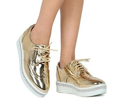 802fd7280d6350 Liliana Krixie Gold Oxford Pointed Rhinestone Rimmed Platform Spectator  Loafer