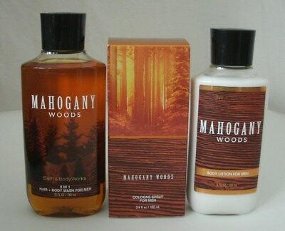 3 Pc Bath & Body Works Mahogany Woods For Men Set Lotion Wash Cologne Spray Lot