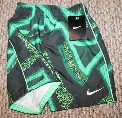 60a9515265 NEW! BOYS NIKE Trunks/Boardies (Swim Shorts; Green/Black Pattern ...