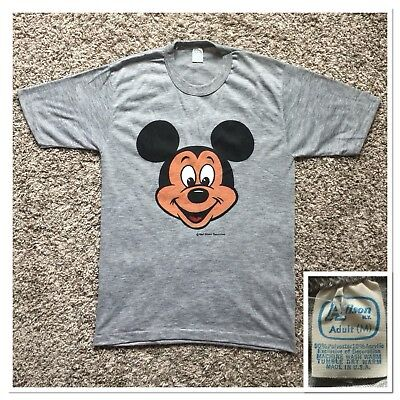 Vintage DeadStock 70's Mickey Mouse Disney Florida Gray T-Shirt Sz M Made in USA