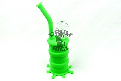 Green Silicone Oil Drum Rig Hookah Water Smoking Pipe Bowl Bubble - USA Shipper