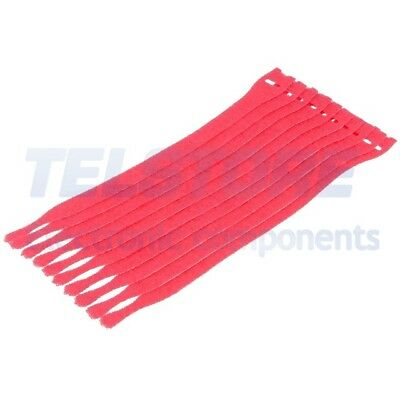 1Confezione  Bracelet velcro L 200mm W 12,5mm rouge 10pc Ømax 60mm