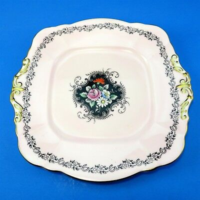 """Hand Painted Florals on Black with Peach Border Paragon Cake Plate 9 1/2"""""""