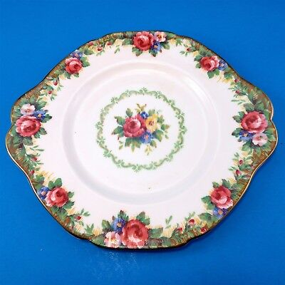 """Colorful Paragon """"Tapestry Rose"""" Cake Plate 9 3/4"""""""