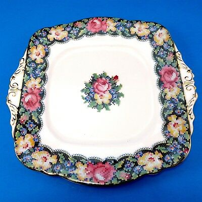 """Colorful Paragon Gingham Rose Cake Plate 9 1/2"""""""