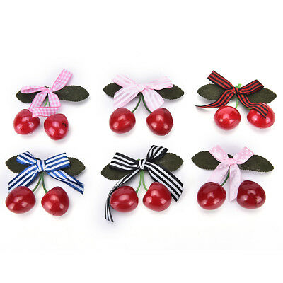 Vintage Cherry Bow Hair Clip For Pinup Girls Rockabilly Hair