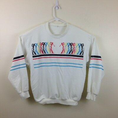 Vintage 80s/90s Cotton Blend Golf Themed Pullover Sweatshirt - Sz XL