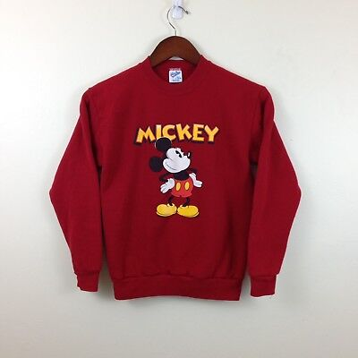 Vintage 80s Mickey Mouse Velva Sheen Red 50/50 Sweatshirt - Youth Lrg / Wmns Sm