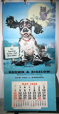 "VTG 1958 CALENDAR ALBERT STAEHLE COCKER SPANIEL BROWN BIGELOW ART PRINT 16""x 33"""