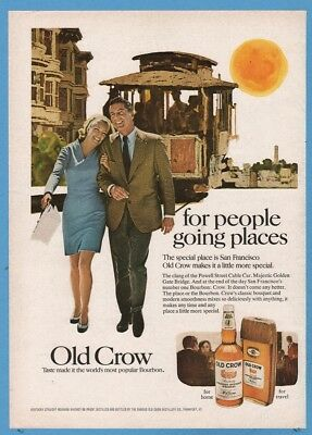 1969 Old Crow Bourbon Whiskey San Francisco CA Powell Street Cable Car art ad