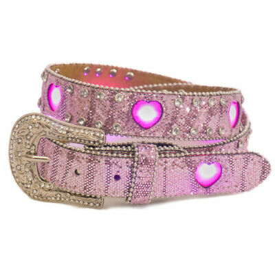 New Girls Pink Flashing Heart LED Lights Belt - 373 Girls Belts Brigalow