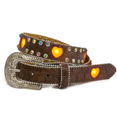 New Girls Brown Flashing Heart LED Lights Belt - 374 Girls Belts Brigalow