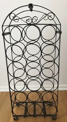 18 Bottle Wrought Iron Wine Rack Stand in Black - Very Good Condition