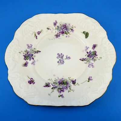 Ornate Victorian Violets from England's Countryside Hammersley Cake Plate 9 3/4""