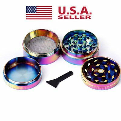 Herb Spice Grinder 4 Piece Herbal Alloy Smoke Metal Chromium Crusher Rainbow USA