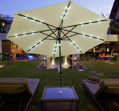 Outsunny 9FT Outdoor Sunshades Patio Umbrella W/ Tilt & LED Lights Market