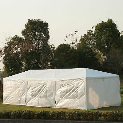 Outsunny 10x30ft Wedding Party Tent Gazebo Canopy Portable Patio White