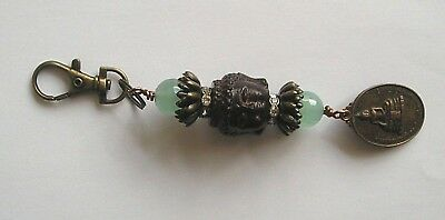 Buddha Head & Lotus Flower Green Glass Bead Antique Bronze Effect Handbag Charm