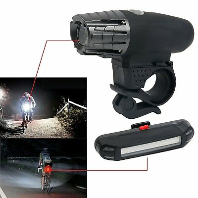 USB Rechargeable Bike Light Set,Bright Front and Rear Flashlight LED Splashproof