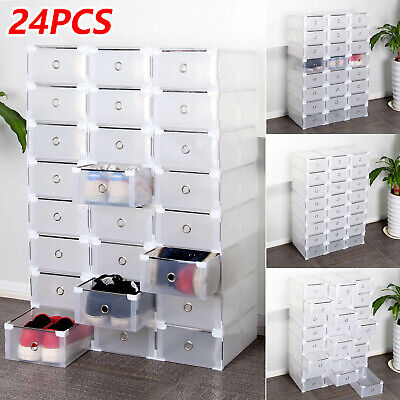 24 Foldable Clear Plastic Shoe Box Drawer Stackable Home Storage Box Organiser