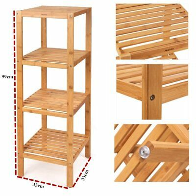 4 Tier Bamboo Shelf Rack Organiser Kitchen Bathroom Wooden Storage Shelving Unit
