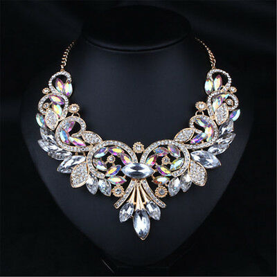 Charm Rhinestone Crystal Chunky Statement Bib Pendant Chain Choker Necklace.