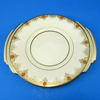 Art Deco Gold Trim with Red Flowers Royal Albert Cake Plate