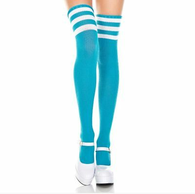 60cd51408 Ladies/Women Turquoise Thigh High Over The Knee Referee Socks with White  Stripes