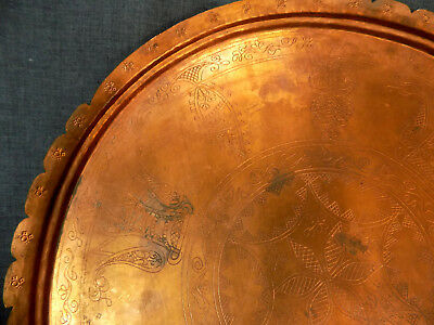 Antique Balkan Bulgarian Hand-Wrought Engraved Copper Plate Serving Platter/Tray