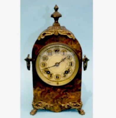 "American Marble Affect Metal Case Striking Mantle Clock c1900 GWO 11.5""H"