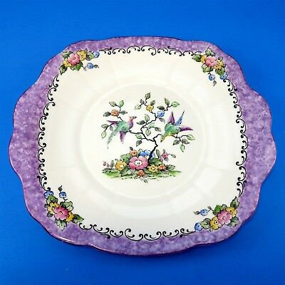 Hand Painted Crown Staffordshire Exotic Bird with Purple Border Cake Plate 10""