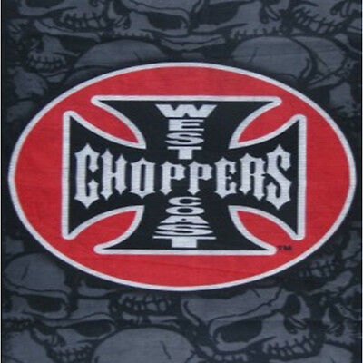 WEST COAST CHOPPERS Tube Cover Black Bandana Style Brand New (T10) SKULL BOYZ SA