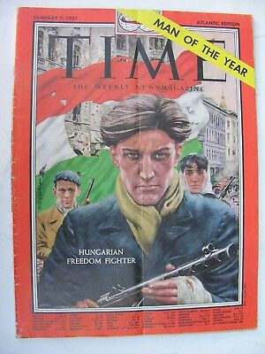 TIME MAGAZINE January 7 1957 Hungarian Freedom Fighter Man of the Year Hungary