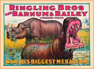 Ringling Bros and Barnum & Bailey Menagerie Vintage Circus Travel  Poster Print