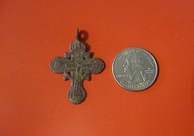 Ancient Russian Orthodox Cavalry Prayer Bronze Cross pendant 17th-19th c #D