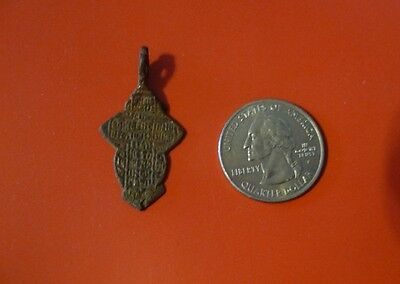 Ancient Russian Orthodox Cavalry Prayer Bronze Cross pendant 17th-19th c #B