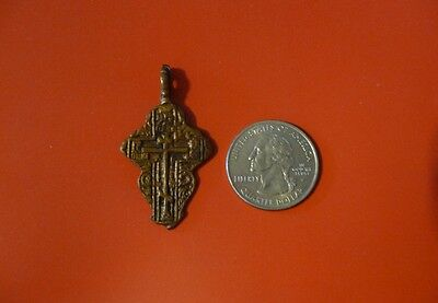Ancient Russian Orthodox Cavalry Prayer Bronze Cross pendant 17th-19th c #E
