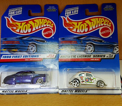 Neu Mattel Hot Wheels Vw Käfer Bug 1988 Und Tail Dragger 1997 Nr. 18797 - 18846