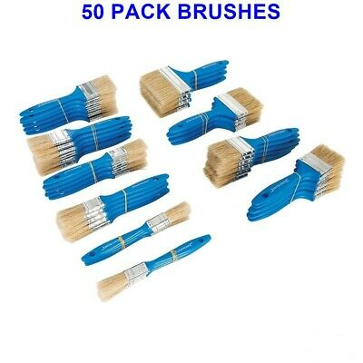 Pack of 50 Disposable Paint Brushes Pure Bristles/Wood Handles Quality Brushes