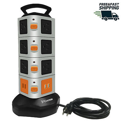 16 Outlets Vertical Multiple USB Output Surge Overload Protector Handle Strip