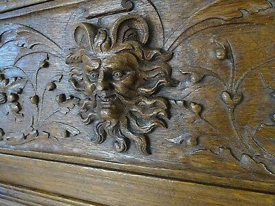Antique French Carved Oak Renaissance Wood Panel Demon Carving  43.30 x 15 in.
